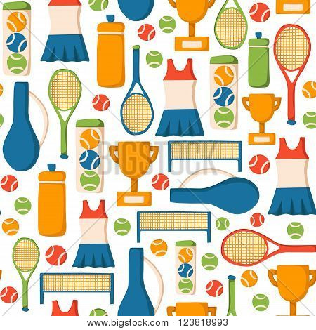 Seamless background with cartoon tennis objects: court tennis racket cup bottle ball. Tennis championship concept