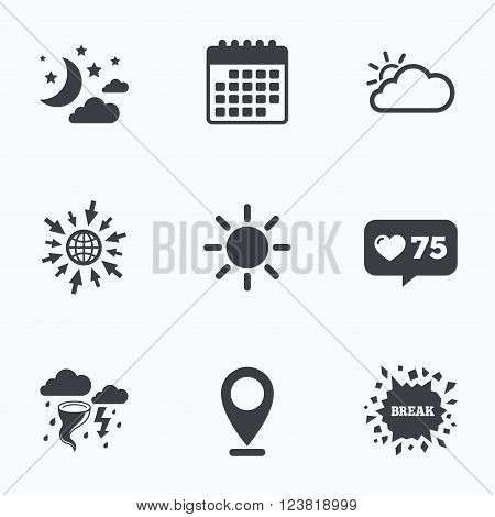 Calendar, like counter and go to web icons. Weather icons. Moon and stars night. Cloud and sun signs. Storm or thunderstorm with lightning symbol. Location pointer.