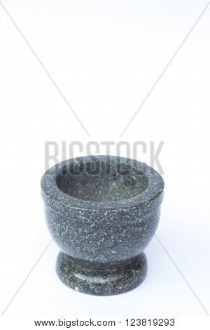 Stone mortar on white background, stock photo