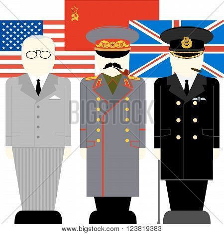 Flags and supreme commander of the armed forces of the anti-Hitler coalition. The illustration on a white background.