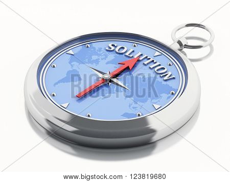3D Illustration. Compass pointing the word solution. Bussines concept. Isolated white background.