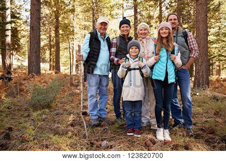 Multi generation family on forest hike, full length portrait