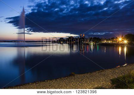 Sunset in Friedrichshafen. Friedrichshafen, Baden - Wurttemberg, Germany.
