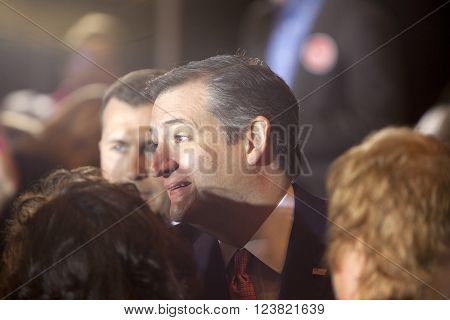 MADISON, WI, USA - March 30, 2016: Republican presidential candidate Ted Cruz speaks to a group of supporters during a rally before the Wisconsin presidential primary in Madison Wisconsin.