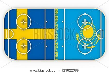 Sweden vs Kazakhstan. Ice hockey competition 2016. National flags on playground. 3D rendering