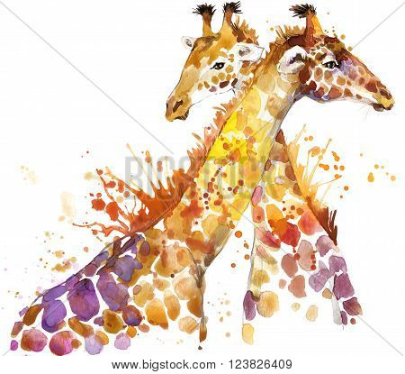 Giraffe. Giraffe Tee shirt graphics. Giraffe illustration with splash watercolor textured background. Giraffe watercolor  illustration for fashion print, poster, textiles, fashion design