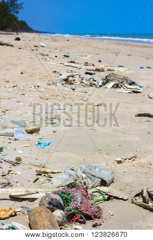 Pollution On The Beach Of Tropical Sea. Outdoors.
