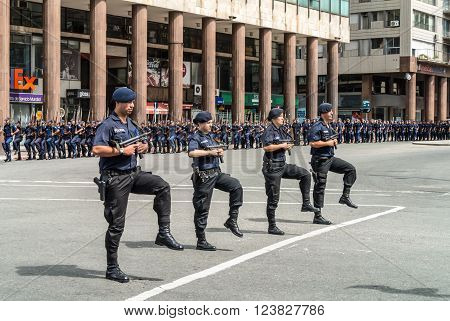 Montevideo Uruguay - December 15 2012: State Police march in the parade in Montevideo Uruguay.