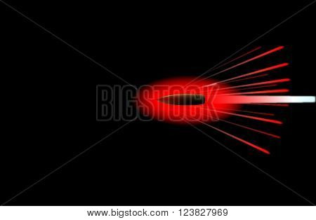 A ridfle bullet glowing hot on its trajectory