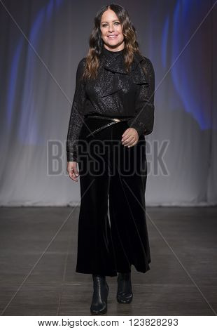 New York City USA - February 13 2016: Designer Jill Stuart walks the runway during the Jill Stuart Women's show as a part of Fall 2016 New York Fashion Week