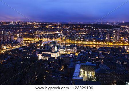 Panorama of Liege at night. Liege Wallonia Belgium