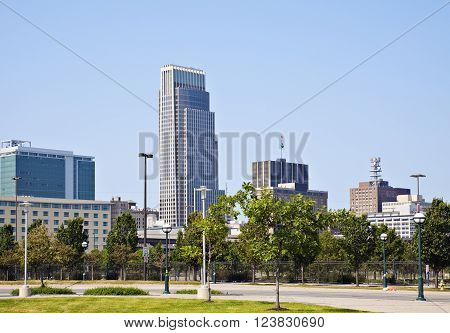 Morning in Omaha - skyline of the city. Omaha Nebraska USA.