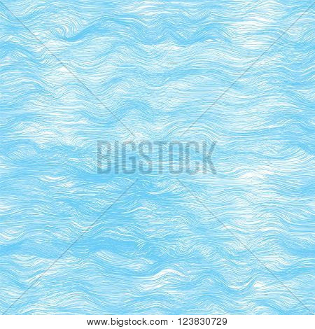 Seamless pattern with  sea waves in blue and white colors