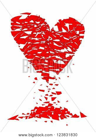 A shattered lovers heart over a white background