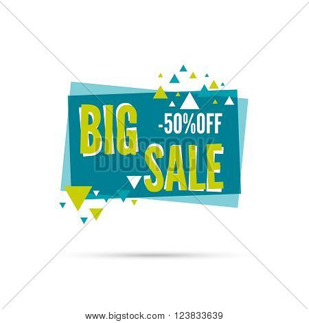 Tag with ribbon and label. Big sale. Banner with triangles