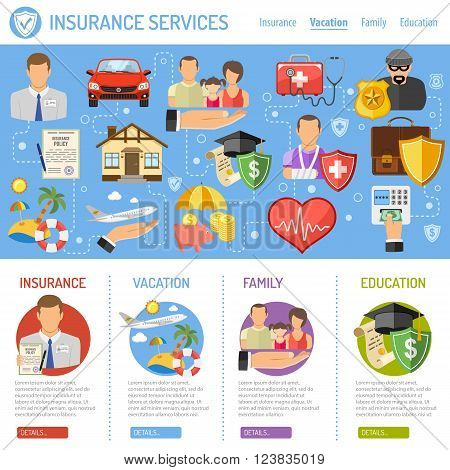 Insurance Services Concept in Flat style icons such as House, Car, Medical, Family and Business. Vector for Poster, Web Site and Advertising.