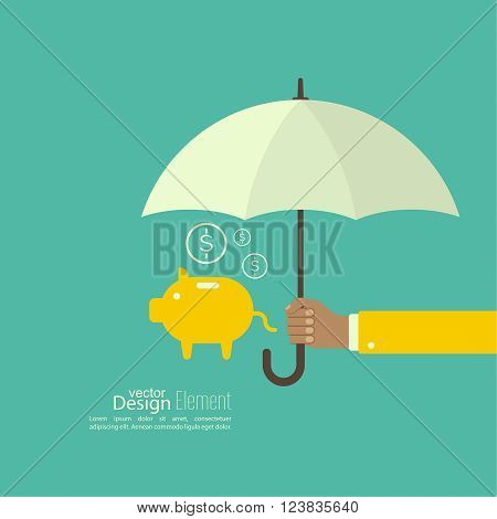 Male hand holding an umbrella. Protection of money, personal funds, bank deposits. money box
