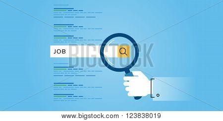 Flat line design website banner of job searches, career, employment opportunities, human resources. Modern vector illustration for web design, marketing and print material.