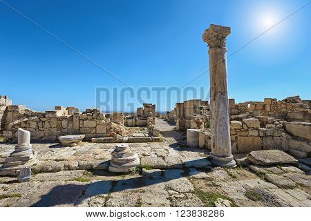 View of the ruins of the ancient Greek city Kourion (archaeological site) near Limassol, Cyprus