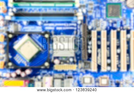 blur background mother board of pc computer.