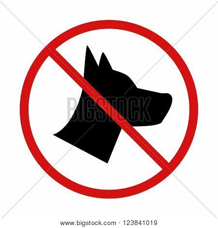 No Dogs allowed forbidden sign isolated on white