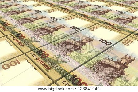 Russian ruble bills stacks background. 3D illustration.