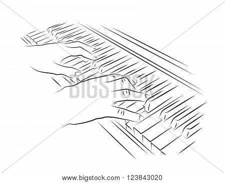 Playing piano vector illustration. Hands on piano keyboard.