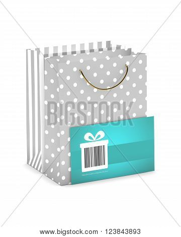 discount card with shopping bags isolated on white background