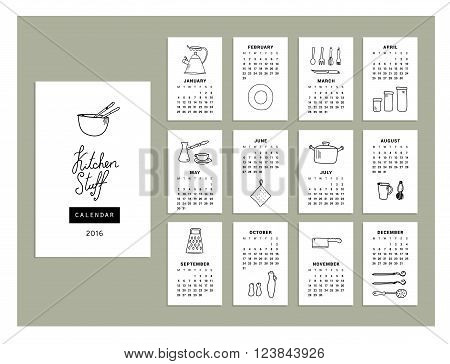 Calendar kitchenware of 2016. Vector illustration. Isolated