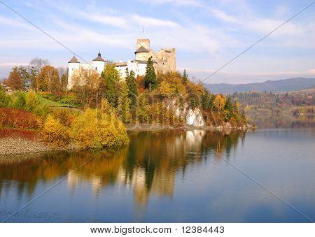 Medieval Dunajec castle in Niedzica by lake Czorsztyn, Poland