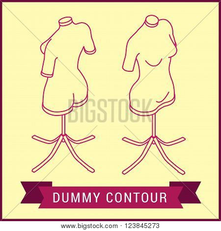 Contour dummy isometric. Manikin figure linear vector style. Dress mannequin bust outline icon. Mannikin vector pictogram.