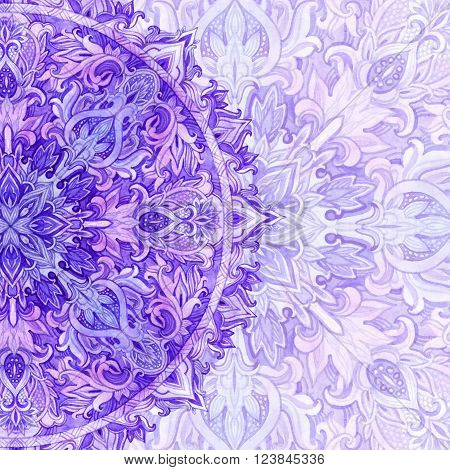 Watercolor mandala. Hand drawn pattern in Eastern style. Ornamental lace pattern for design in tribal and boho styles. Traditional lace card in natural colors.