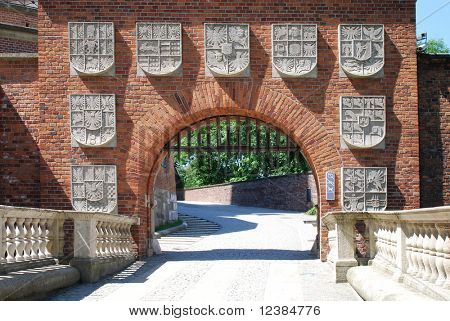 Gate of The Wawel Royal Castle in Cracow, Poland.