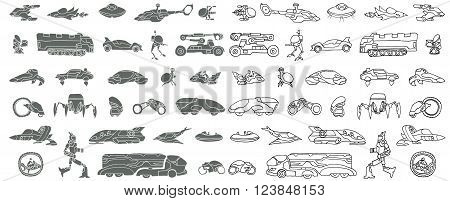 Transport of the future. Doodle. Vector. Isolated