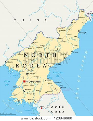 North Korea political map with capital Pyongyang, national borders, important cities, rivers and lakes. English labeling and scaling. Illustration.