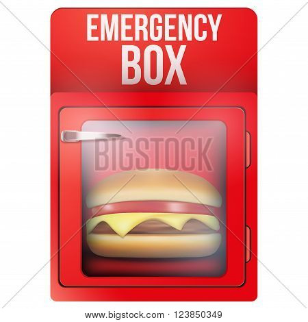 Red emergency box with hamburger. Vector Illustration isolated on white background.