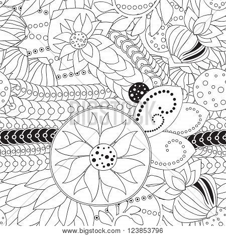 stock vector seamless doodle black and white floral pattern. orient. abstract background