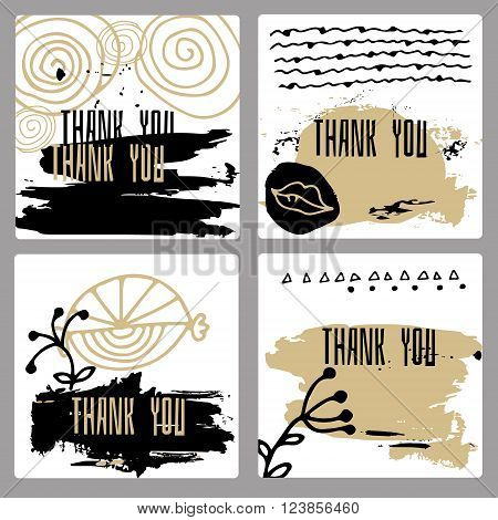 A set of hand-drawn style of greeting cards templates in black white and gold. Abstract strokes of paint and doodle design with copy space. (The words