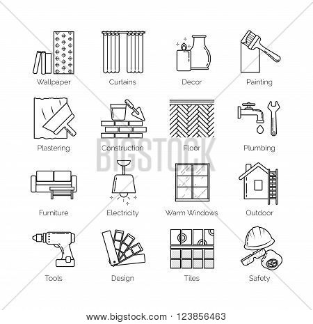 A set of thin line icons for house design, repair, construction, decoration, renovation. Including tolls, activities and objects