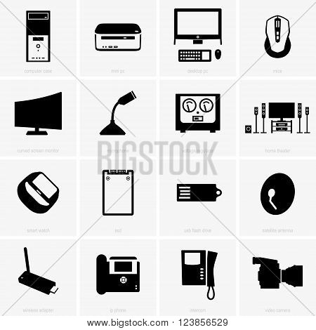 Set of computer peripherals on grey background