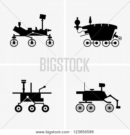 Planetary rovers on grey background, shade pictures