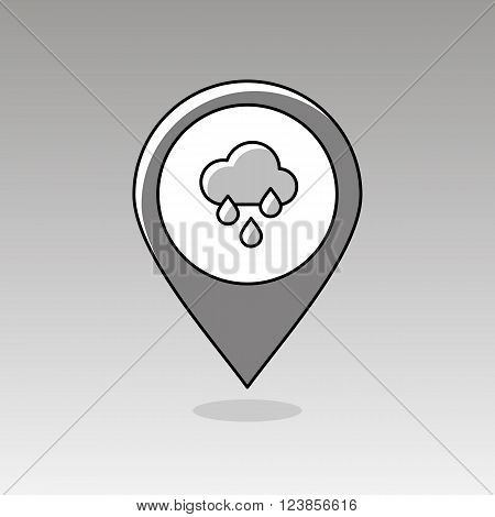 Rain Cloud Rainfall outline pin map icon. Map pointer. Map markers. Meteorology. Weather. Vector illustration eps 10