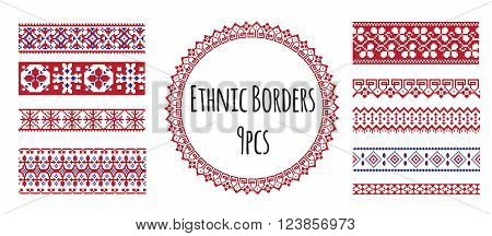 A set of ethnic traditional slav embroidery seamless borders in red, blue and white colours with floral and geometric ornaments. Cam be used for pattern brush.