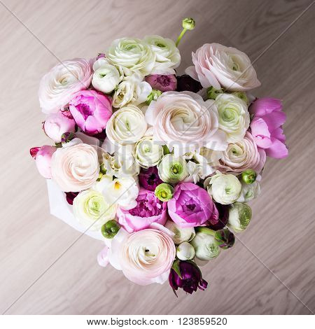 Top View Of Bouquet Of Summer Flowers