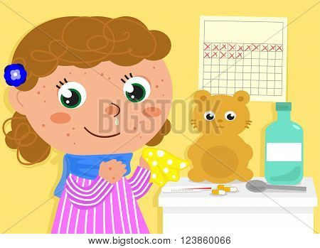 Happy ill girl with red pustules. Vector illustration about childhood.
