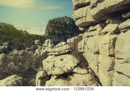 Karst rocks mountains landscape in El Torcal of Antequera, Spain.