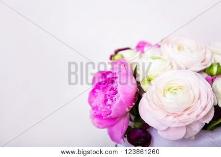 top view of bunch of summer flowers