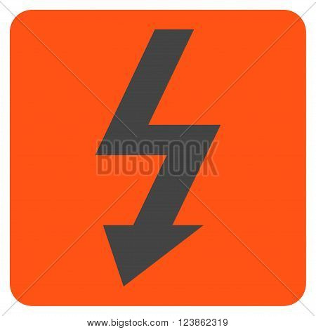High Voltage vector icon symbol. Image style is bicolor flat high voltage icon symbol drawn on a rounded square with orange and gray colors.