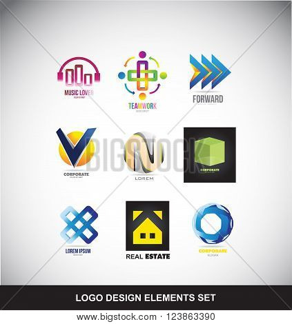 Vector company logo icon element template set music teamwork arrow forward alphabet letter sphere cube flower real estate house