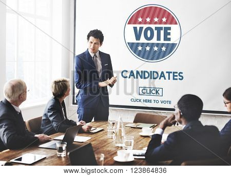 Candidates Nominee Vote Leader Campaign Concept poster